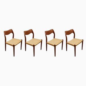 Model 71 Danish Teak Dining Chairs by Niels Otto Møller for J.L. Møllers, 1960s, Set of 4