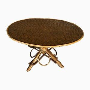 Tavolino da caffè Mid-Century in vimini e legno, anni '60