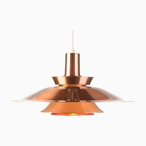 Lámpara colgante danesa vintage grande de cobre, años 60