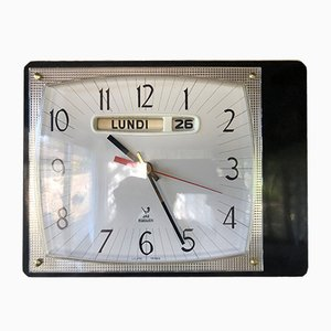 Reloj de pared vintage de formica y palisandro de Jaz, años 60