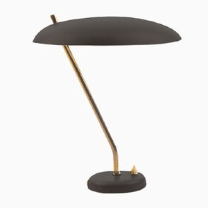 Danish Grey Desk Lamp with Brass Details, 1960s