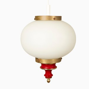 Lámpara de techo danesa de vidrio opalino, años 50