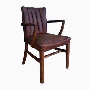 Chaise de Bureau Vintage Art Déco en Cuir