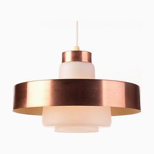 Kleine dänische Deckenlampe aus Messing & Opalglas, 1960er