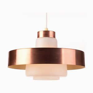 Small Danish Brass & Opaline Glass Ceiling Lamp, 1960s
