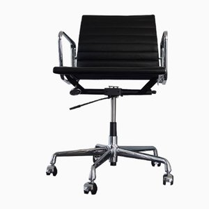 Chrome & Leather EA 117 Desk Chair by Charles & Ray Eames for Vitra, 1980s