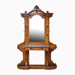 Mueble de recibidor victoriano antiguo de roble