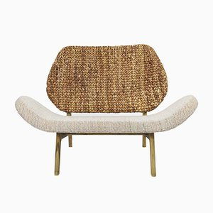 Cattail Leafs, Woven Wool & Wood Tutura 2-Seater Chair by Matte Fogale and Carolina Palombo Píriz