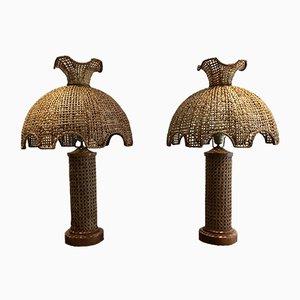 Lámparas de mesa de ratán, años 70. Juego de 2
