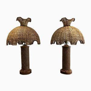 Tischlampen aus Rattan, 1970er, 2er Set
