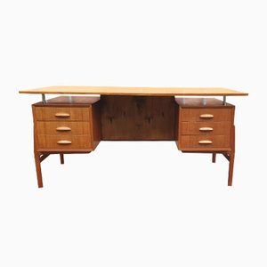 Mid-Century Teak Floating Desk