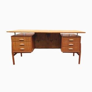 Schwebender Mid-Century Schreibtisch aus Teak