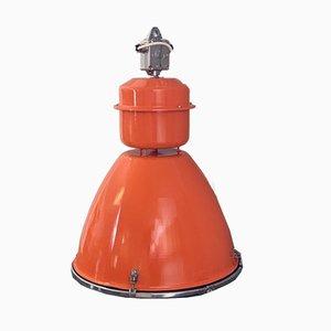 Orangefarbene industrielle Fabriklampe, 1960er