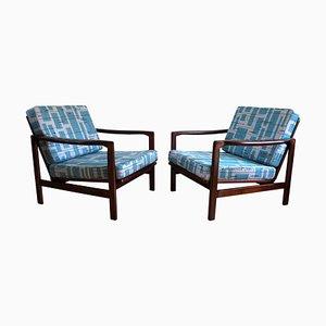 Polnische Modell B-7752 Sessel mit Bezug aus blauem Stoff von Zenon Bączyk, 1960er, 2er Set