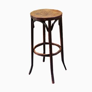 Vintage French Wooden Stool from Baumann, 1950s