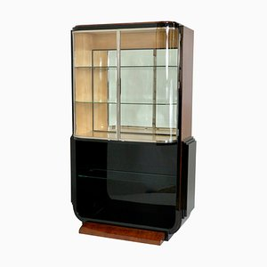 Black Lacquer and Amboina Burl Veneer Display Cabinet, 1930s