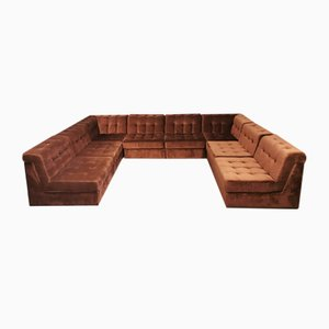 Brown Velvet Modular Living Room Sofa Set, 1960s, Set of 8