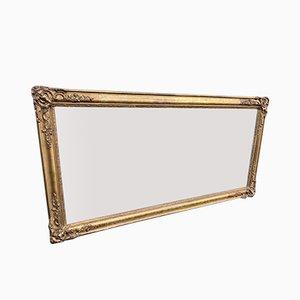 Espejo francés antiguo de madera tallada y espejo de yeso
