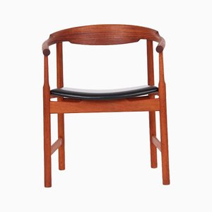 Model PP203 Mahogany and Black Leather Desk Chair by Hans J. Wegner for PP Møbler, 1970s
