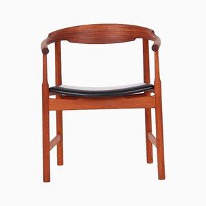 Silla de escritorio modelo PP203 de caoba y cuero negro de Hans J. Wegner para PP Møbler, años 70