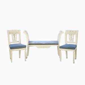 Antike französische Bank & Stühle, 2er Set