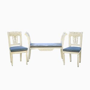 Antique French Bench and Chairs, Set of 2
