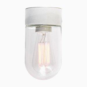 Aplique francés de porcelana y vidrio transparente, años 50