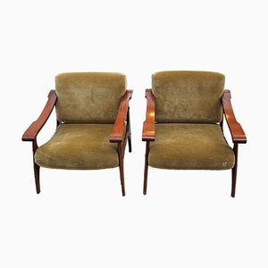 Mid-Century Beech and Velvet Lounge Chairs, Set of 2