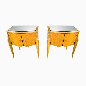Comodini in legno satinato giallo e ottone, anni '50, set di 2