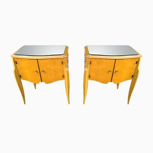 Tables de Chevet en Bois Satiné Jaune & Laiton, années 50, Set de 2