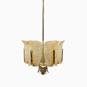 Glass and Brass Ceiling Lamp by Carl Fagerlund for Orrefors, 1960s