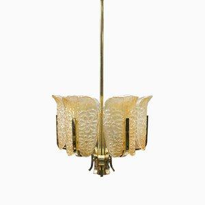 Lámpara de techo de vidrio y latón de Carl Fagerlund para Orrefors, años 60