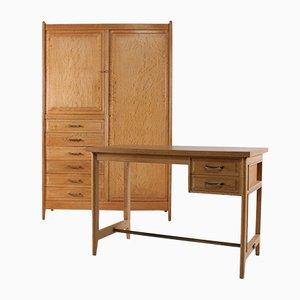 Juego de escritorio y armario vintage de roble, años 50