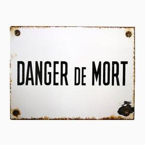 Emailliertes belgisches Danger de Mort Schild, 1930er