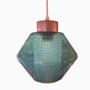 Lámpara de techo vintage de vidrio y vidrio texturizado, años 60