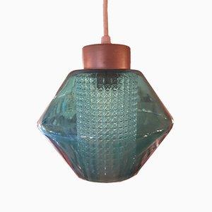 Lampada da soffitto vintage in vetro e vetro ruvido, anni '60