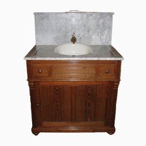 Vintage Frisierkommode aus Holz & Marmor mit Waschbecken