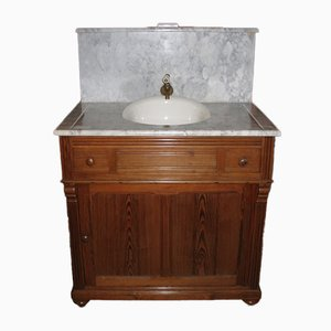 Vintage Wood and Marble Vanity Cabinet with Wash Basin