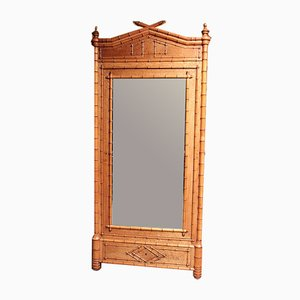 Vintage Bamboo Cabinet with Mirror, 1920s