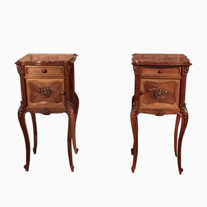 Vintage Walnut Nightstands, Set of 2