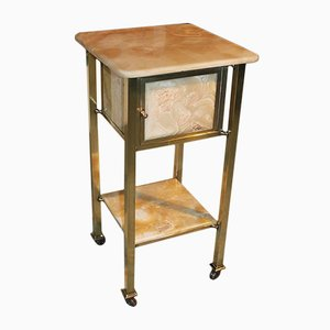 Vintage Onyx and Brass Nightstand, 1920s