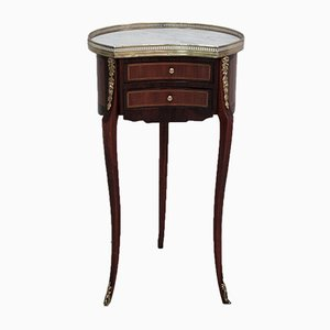Small Vintage Mahogany, Rosewood, and Marble Nightstand