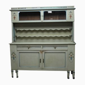 Vintage Grey and Blue Wood Cabinet