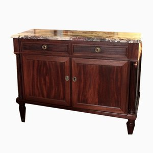 Antique Louis XVI Style Mahogany and Marble Buffet