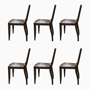 Vintage Art Deco Style Walnut Dining Chairs, Set of 6