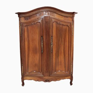 Antique Louis XV Style Walnut and Oak Wardrobe