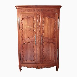 Antique Louis XV Birch, Cherry, and Oak Wardrobe