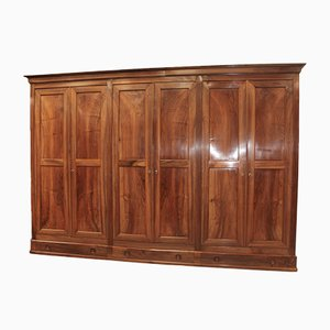 Large Antique Walnut Wardrobe with 6 Doors