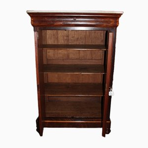 Antique Mahogany Veneer and Marble Bookcase