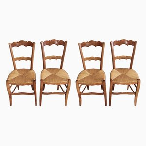 Antique Birch Dining Chairs, Set of 4